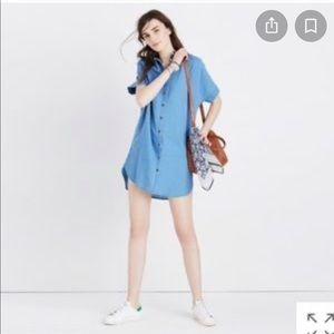 Madewell indigo central shirt dress size small